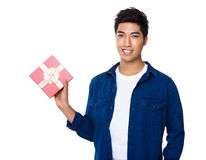Asian Man hold with present box Stock Image