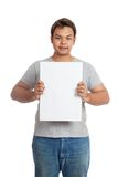 Asian man  hold a vertical  blank sign look at camera Stock Photography