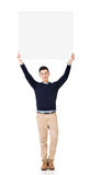 Asian man holding a blank board Stock Photo