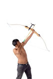 Asian man holding bow and shooting to archery target. Stock Images