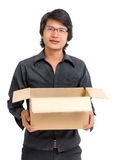 Asian man holding a box Royalty Free Stock Photo