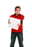 Asian man holding out binder Royalty Free Stock Photography