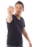 Asian man holding a pen Royalty Free Stock Images