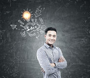 Asian man and idea sketch on blackboard Stock Photography