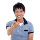 Asian man indicate something. Stock Photo