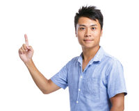 Asian man indicated upside Stock Image