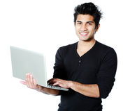 Asian man with laptop Royalty Free Stock Photos