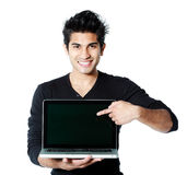 Asian man with laptop Stock Image