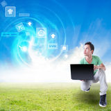Internet Everywhere. Asian Man With Laptop Technology Royalty Free Stock Image