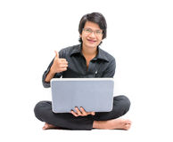 Asian man with laptop Stock Photo