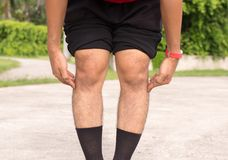 Asian man leg bandy-legged shape of the leg royalty free stock photo