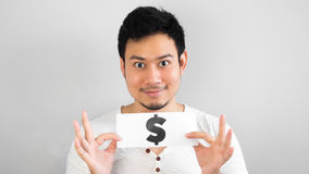 Asian man with lots of money. Royalty Free Stock Photo