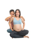 Asian man massage for pregnant wife ,Couples attending antenatal Class together Royalty Free Stock Photography