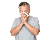 Asian man with nose allergy Stock Image