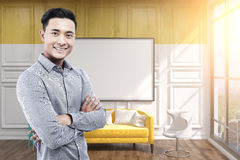 Asian man in office, whiteboard, yellow Stock Photos
