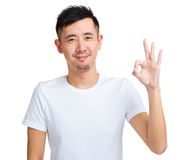 Asian man with ok sign Royalty Free Stock Image