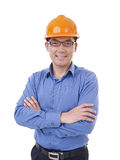 Asian man with orange safety hat Royalty Free Stock Images