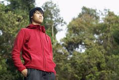 Asian man outdoors Royalty Free Stock Images