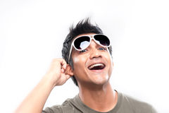 Asian Man Playing with sunglasses Royalty Free Stock Images