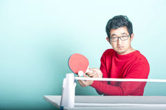 Asian man playing table tennis  Stock Photography