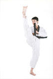 Asian man playing  taekwondo Royalty Free Stock Images