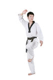 Asian man playing  taekwondo Stock Image