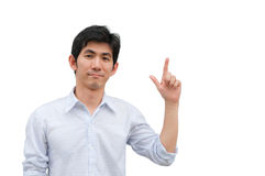 An asian man point his hand as present product Royalty Free Stock Image