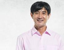Asian Man Portrait Concrete Wall Background Concept Royalty Free Stock Photos