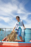 Asian man portrait in fisherman looks Stock Photography