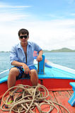 Asian man portrait in fisherman looks Stock Photos