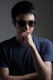 Asian man portrait with retro sunglasses Royalty Free Stock Images