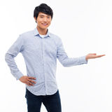 Asian man present something Stock Photos