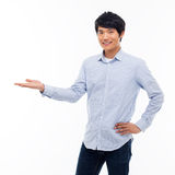 Asian man present something Stock Photography