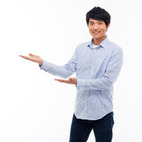 Asian man present something Royalty Free Stock Photos