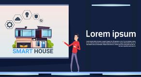 Asian Man Presenting New Smart Home Control And Automation System Technology Banner With Template Elements. Flat Vector Illustration Royalty Free Stock Photos