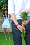 Asian Man proposing to Chinese Girl Royalty Free Stock Photography