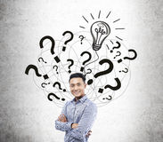 Asian man and question mark and light bulb sketch Stock Images