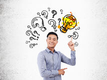 Asian man and question mark sketch Stock Photo