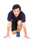 Asian Man Ready to Run. Royalty Free Stock Photography