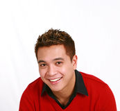 Asian man in red sweater Royalty Free Stock Photos