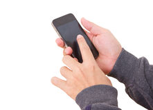 Asian Man's Hand Touching Smartphone's Screen. Royalty Free Stock Photography
