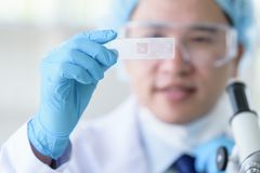 Asian man scientist researching  and learning in a laboratory. Analyzing background beaker biology biotechnology black blue chemical chemist chemistry clean royalty free stock photography