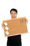 Asian man show with woodenboard Stock Images