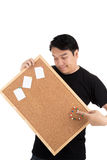 Asian man show with woodenboard Royalty Free Stock Image