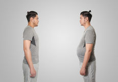 Asian man slim and fat. Asian man after and before woking out slim body and fat Royalty Free Stock Image