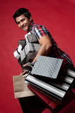 Asian Man smiling after shopping Stock Image