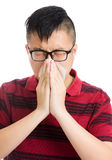 Asian man sneeze Royalty Free Stock Image