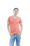 Asian man is standing on white background Royalty Free Stock Photography
