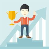 Asian man standing on the winning podium Royalty Free Stock Images