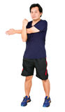 Asian Man Stretching Workout. Royalty Free Stock Photography